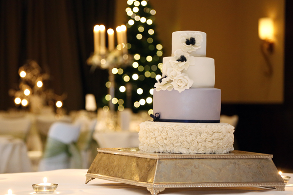 lavander and ivory coloured wedding cake at Fota resort