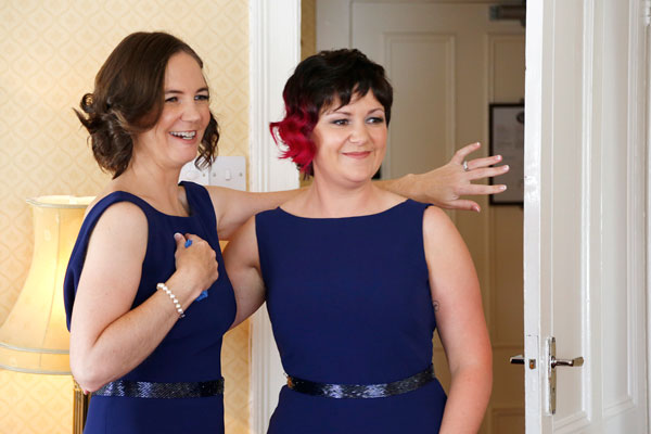 bridesmaids swoon when they see bride