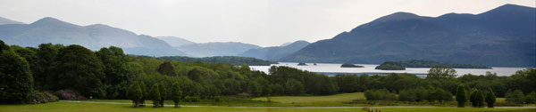 panormaic photo of the view from the Castlerosse hotel in Killarney showing the mountains and lakes