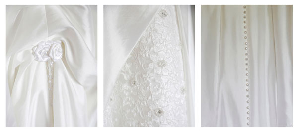 3 small photographs of details of a white silk wedding dress