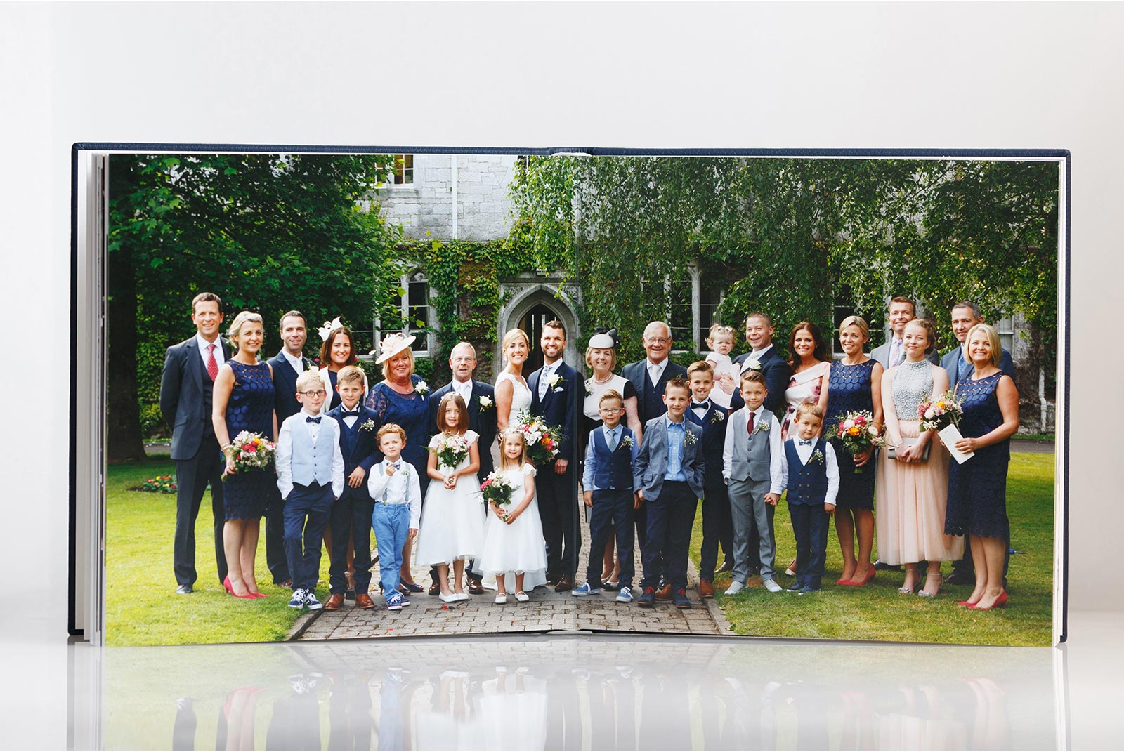 A panormaic lay out in a flush mounte Queensberry wedding album