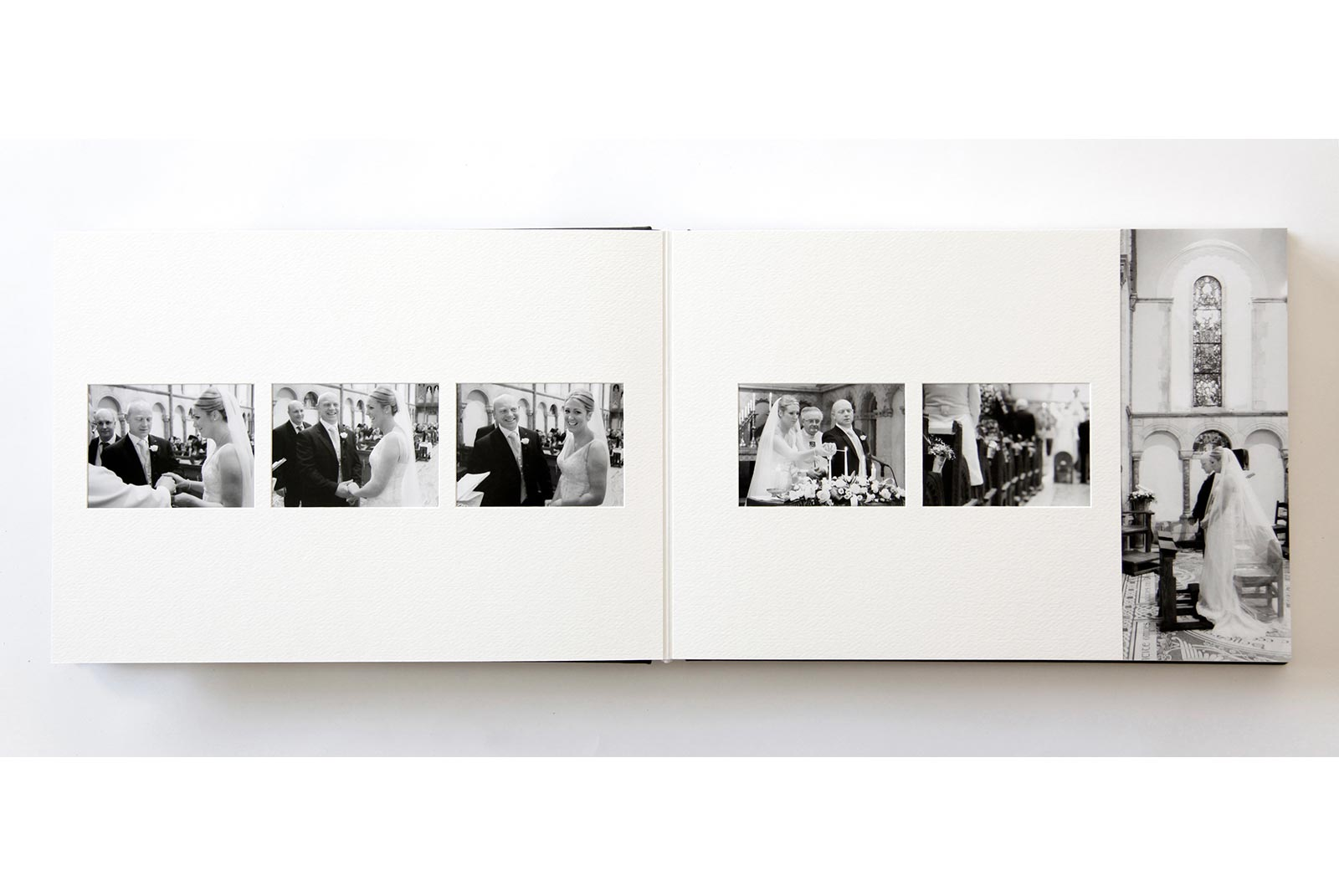 Duo Queensberry wedding album, with image running to the edge of the page