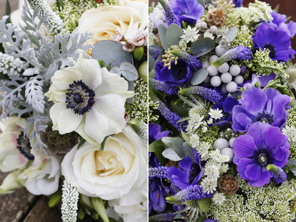 winter wedding flowers in whites and purples